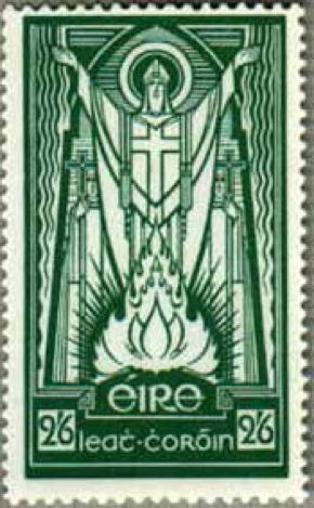 Old Irish stamp of St. Patrick - from wonderful piece by the great Hilaire Belloc on St. Patrick and Catholic Ireland … http://corjesusacratissimum.org/2013/05/hilaire-belloc-saint-patrick-and-catholic-ireland/