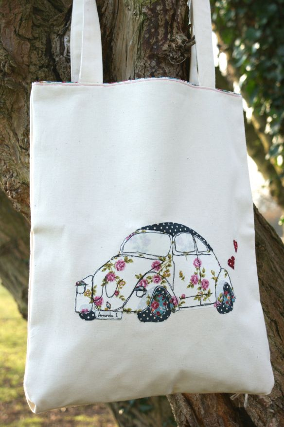 Free hand machine applique Beetle Tote Bag. Emily Carlill