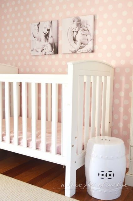 Baby girl nursery makeover - room reveal! Love the sweet dolls-house effect of the pink and white polka-dot feature wall. Heaps more photos on the blog.