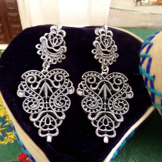 Leeftijd zilveren kant Portugese filigraan stijl oorringen