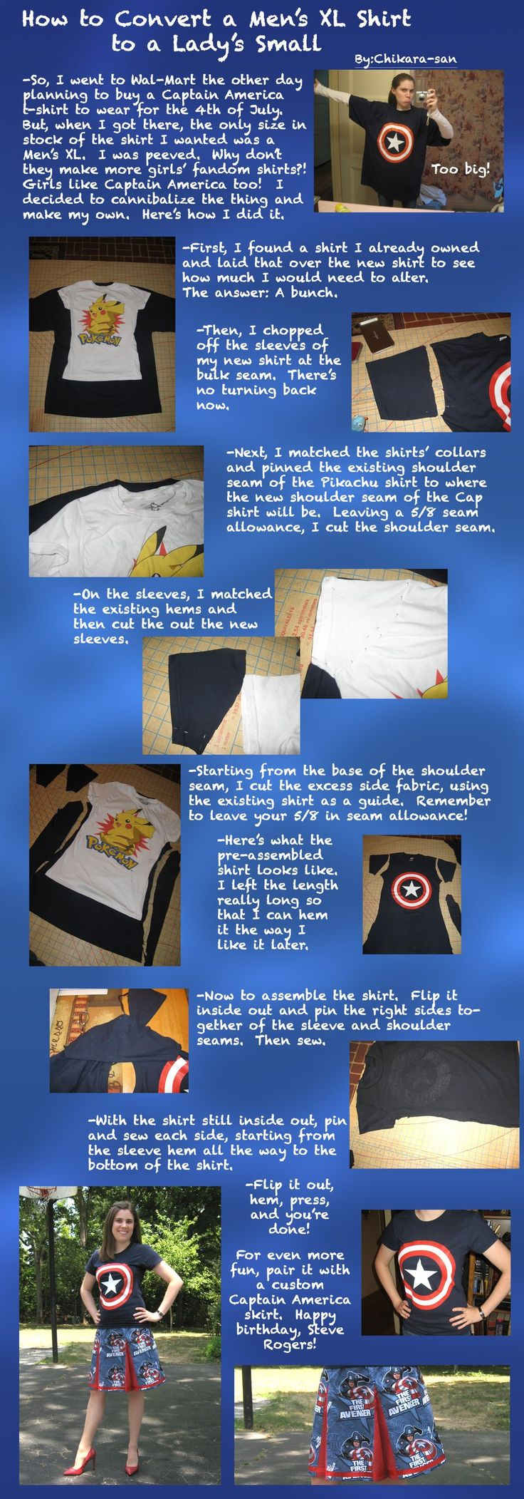 Tutorial: Altering a Man's T-Shirt to a Lady's