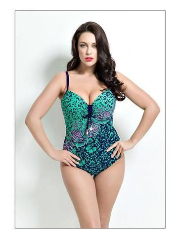 Womens Plus Size One Piece Swimsuit, Print Swimwear, Padded Large Bust Swimsuits