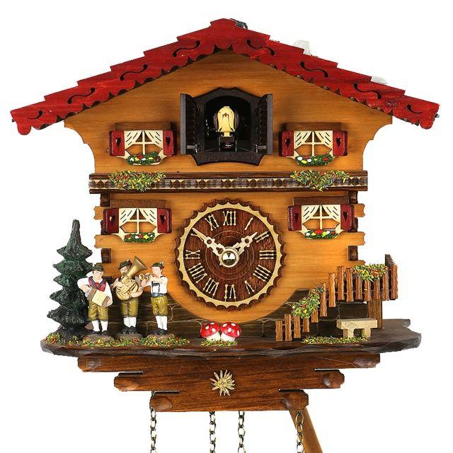 orologio a quarzo  con i musicisti con il tetto rosso e grigio  un bel contrasto di colore favoloso. -129,90 € -