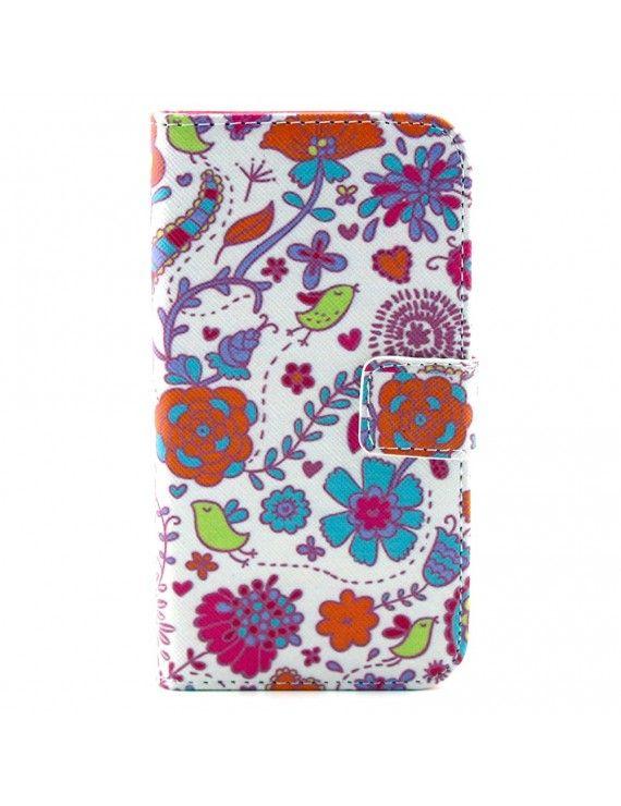 Δερμάτινη Θήκη Πορτοφόλι με Βάση Στήριξης για LG G2 Mini D610 D618 D620 - Πολύχρωμα λουλούδια και πουλιά