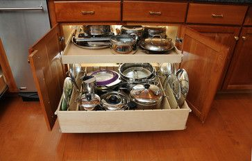 Pull Out Shelves with Dividers - contemporary - cabinet and drawer organizers - chicago - by ShelfGenie of Chicago