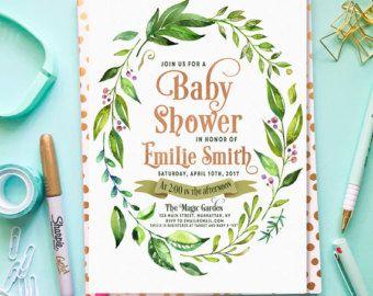 Baby-Dusche Einladung grün Boho Baby Dusche von lovelypapershop