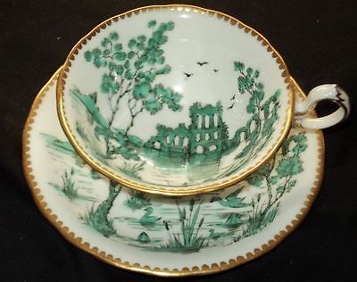 ROYAL CHELSEA RAISED EMERAL GREEN GOLD WIDE TEA CUP AND SAUCER