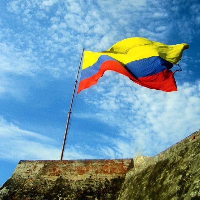 Stunning Colombia flag on the Castillo San Felipe de Barajas, Cartagena.