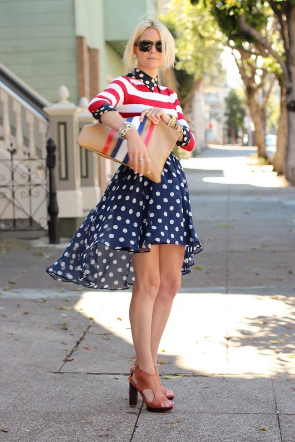Sweater: Zara. Polka Dot Top: Equipment. Skirt: Ruche. Bag: DIY American Apparel Clutch. Sunglasses: Karen Walker Deep Freeze. Shoes: Pour La Victoire. Jewelry: YSL Ring, David Yurman, Michael Kors, Jcrew, Pomellato