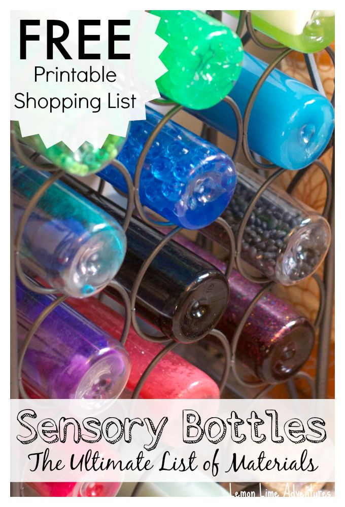 Sensory Bottle Shopping List