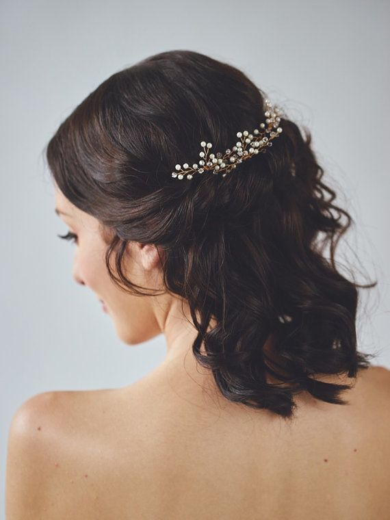 Gold Pearl Headpiece | Ivory Wedding Hair Accessories | Golden Bridal Hair Comb [Aurae Hair Wreath]