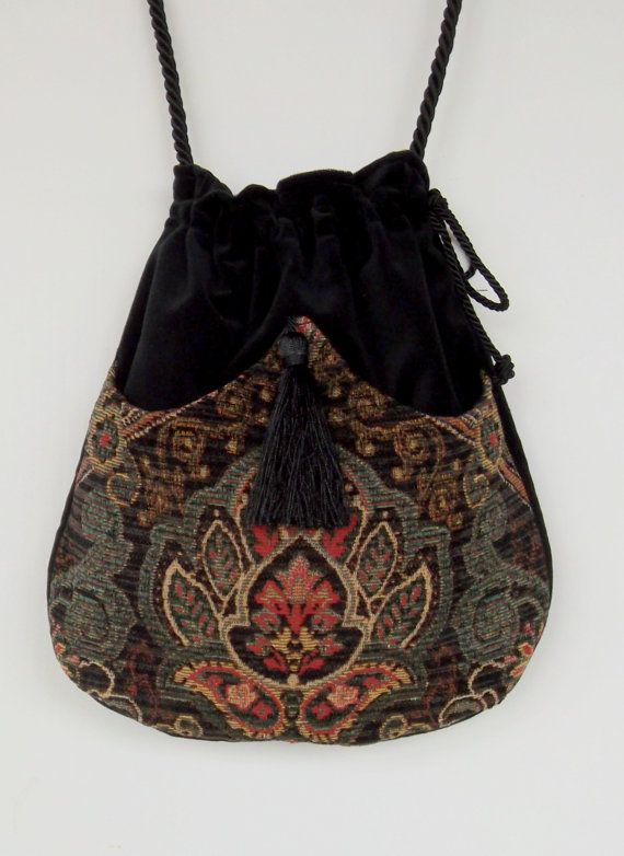 Classy Chenille  Boho Bag  Green and Black Drawstring Bag  Black Velvet Bag  Bohemian Bag  Crossbody Purse