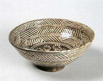 Mishima - white slip inlaid into dark clay. Teal Bowl of the Hori-mishima type; named 'Zansetsu' Korea, 16 -17th century.