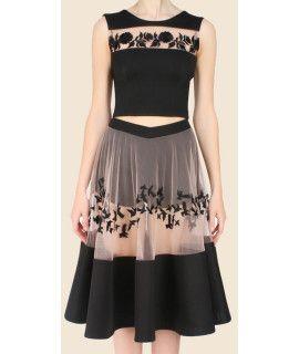 Hot Black Georgette Skirt.