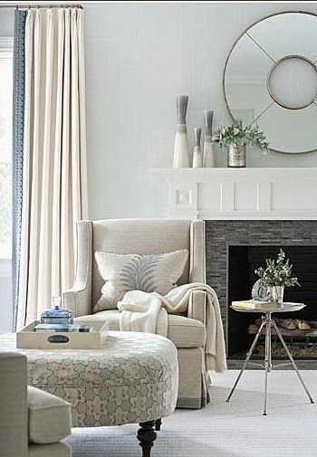 Living room ideas. Round mirror. Fireplace styling. Curtains. South Shore Decorating Blog: Weekend Roomspiration (3)