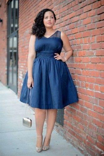 Dark blue dresses plus size