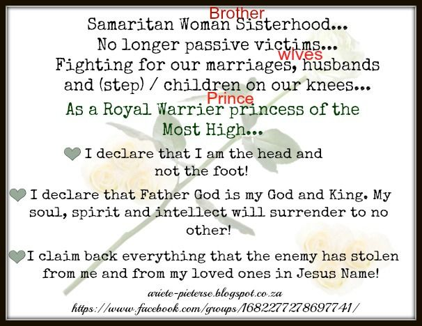Fighting for our marriages, husbands/ wives, children, step children...on our knees...