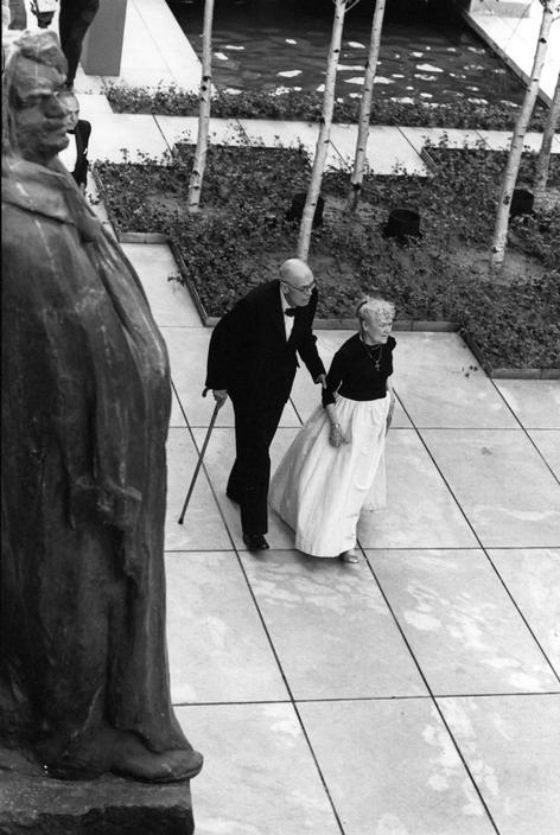 the artist Edward Hopper and his wife at the Museum of Modern Art, NYC, 1964 Photo by Eve Arnold
