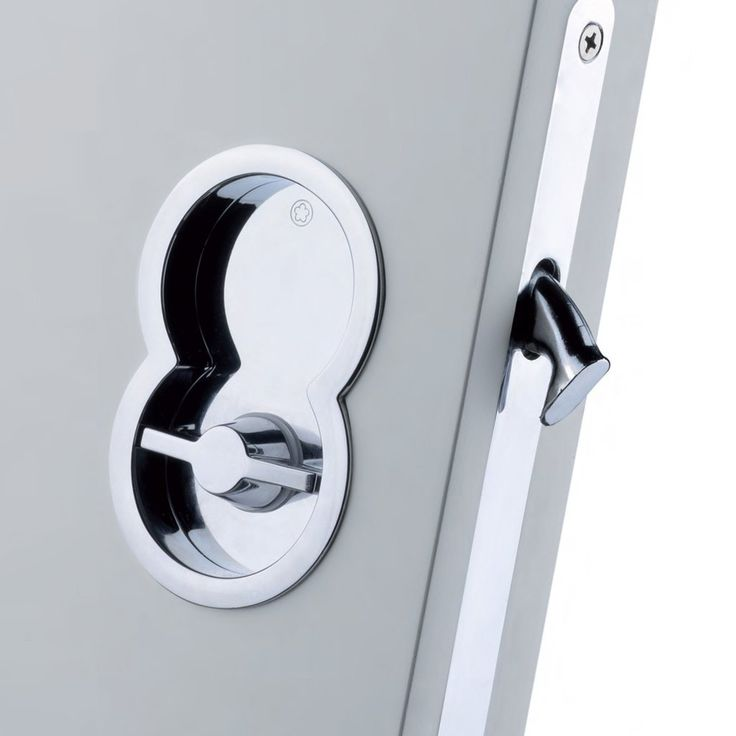 A stylish Manital ART85B Otto bathroom lock for sliding doors with a round flush pull and turn button designed for virtually any of our sliding or folding doors or for any other interior door that you intend fitting as a sliding door. #slidingdoorhandleset #flushpullhandle #pocketdoorhandle