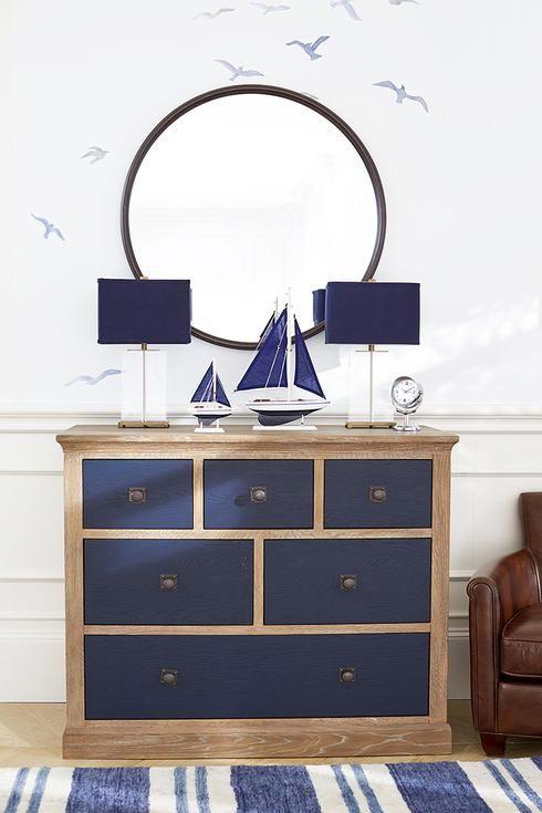 blue painted dresser - nautical