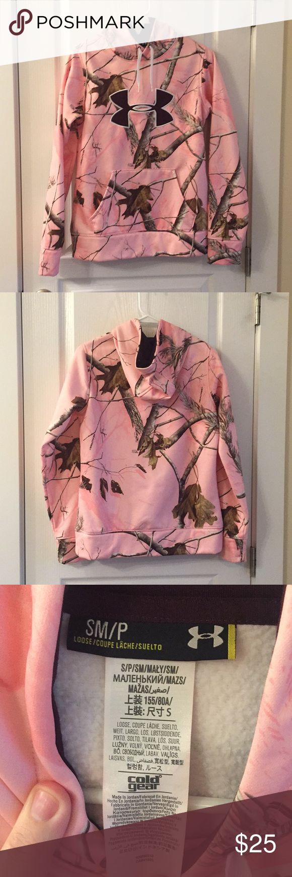 Under Armour RealTree Pink Camo Hoodie Size Small Under Armour RealTree design camo hoodie pullover, sherpa lined, women's size small. This runs small! Perfect condition since it's never been worn only washed. Under Armour Tops Sweatshirts & Hoodies