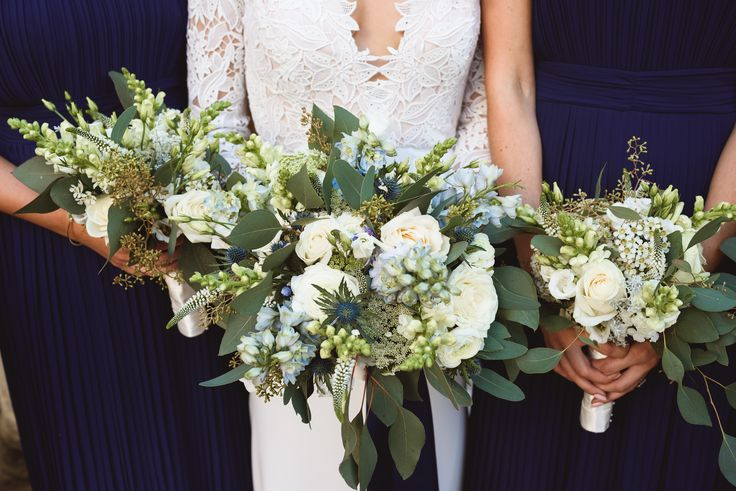 Stocks, Roses, Lisianthus, Veronica, Populus and Delphinium bouquets by Aqua Flowers Wedding and Events.