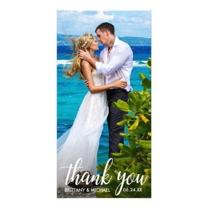 Wedding Thank You Bride Groom Photo Long Card - married gifts wedding anniversary marriage party diy cyo