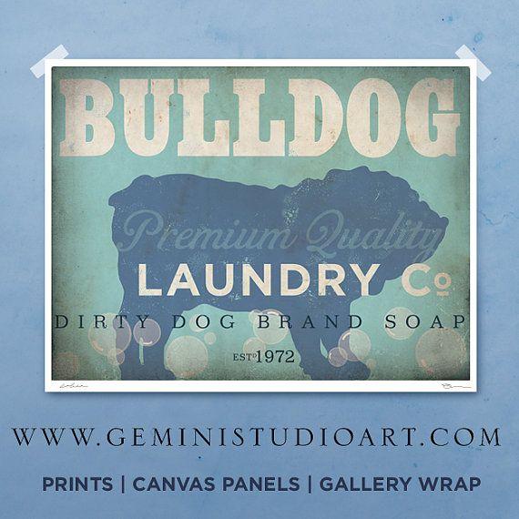English Bulldog laundry company laundry room artwork giclee archival signed artists print Pick A Size on Etsy, $25.00