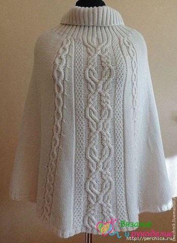 Шикарное вязаное пончо спицами из шерсти / Любимая Азия