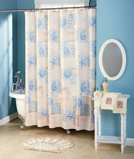 Bathroom Shower Curtain Set Accessories Ceramic Seashell Hooks Beach Starfish Nautical