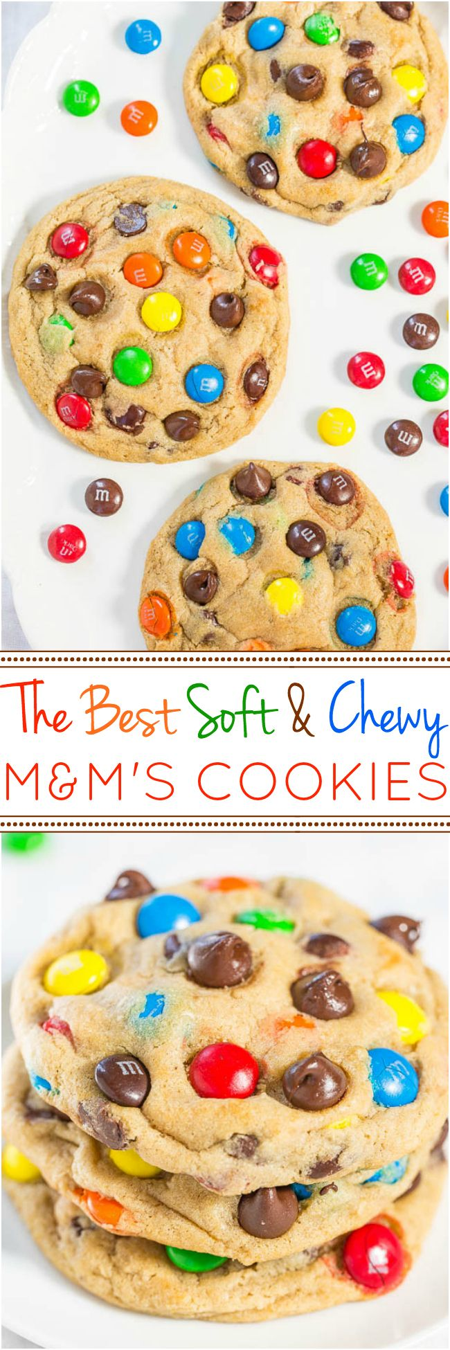 The Best Soft and Chewy M&M'S Cookies - Big, bakery-style cookies you can make at home that are BETTER than the bakeries!!