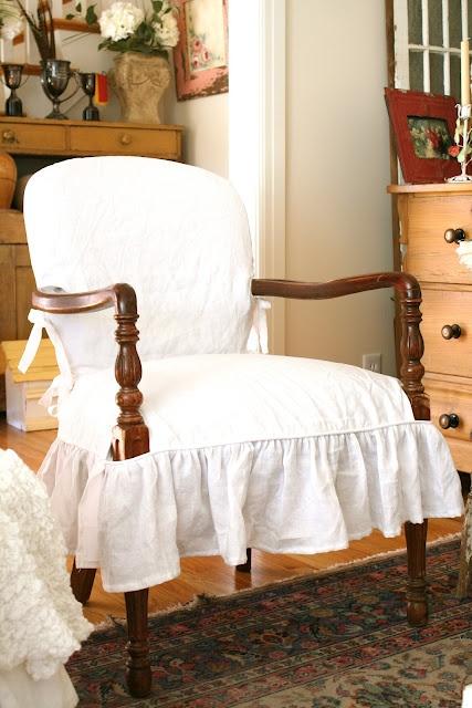 Exposed Wood   White Linen Shelley Custom Slipcovers