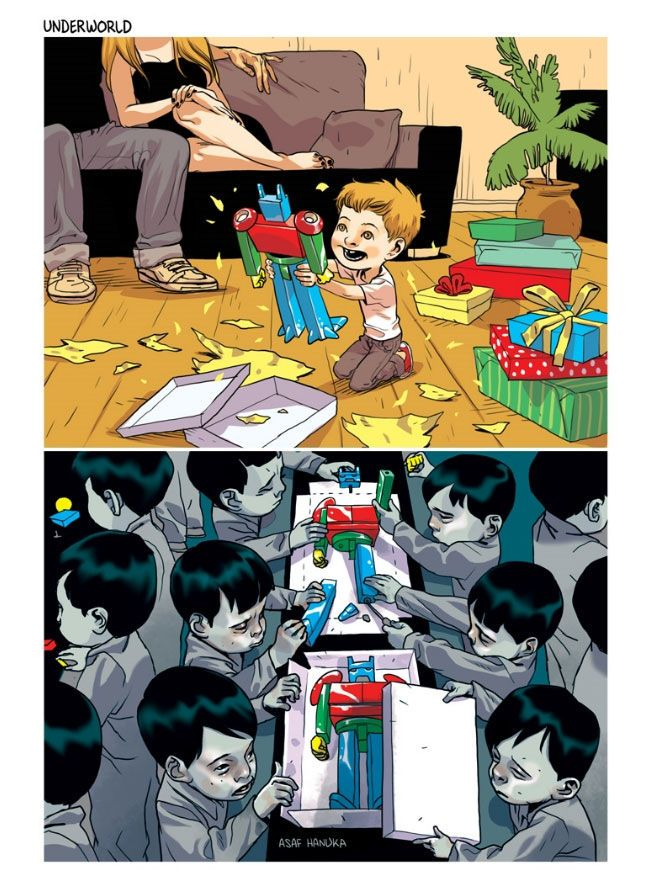 Tomer Hanuka and Asaf Hanuka are twin Israeli illustrators who create extraordinary paintings that poke fun at the modern world. Controversial and philosophical, not all of them are easy to get straight away, but look deeper and they all have some pretty profound meanings.Want some exclusive content? Join the UltraLinx mailing list here.1.2.3.4.5.6.7.8.9.10.11.12.13.