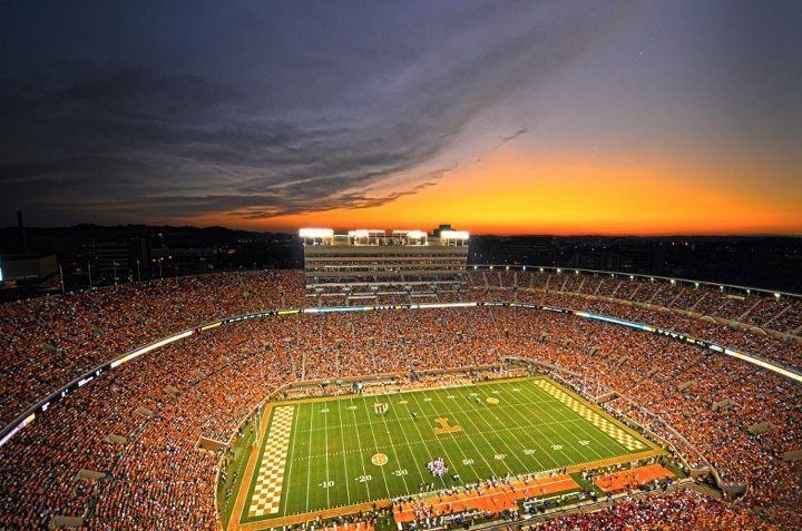 Sunset over Neyland Stadium. I want to go to a game to experience the game live. I've watched this team since I was a little boy but have never got to go and witness it in a game