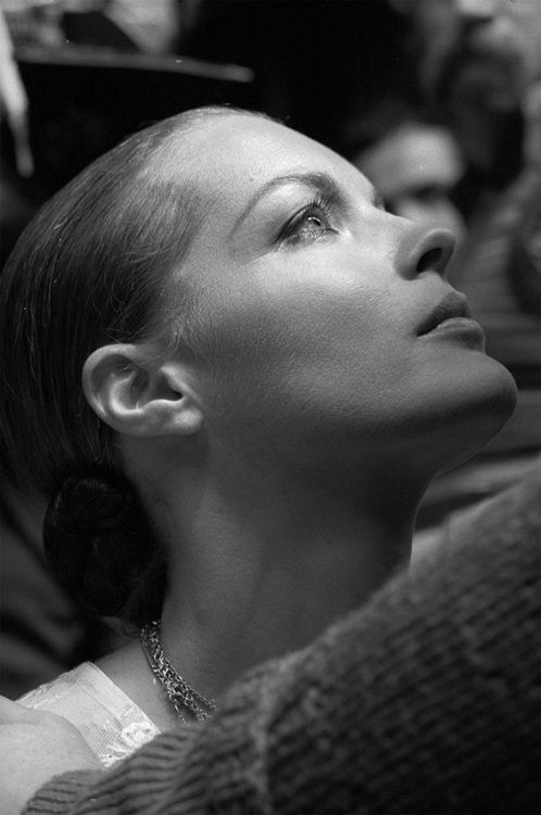 Romy Schneider on the set of That Most Important Thing: Love (1975, dir. Andrzej Zulawski) Photographer: Jean Gaumy
