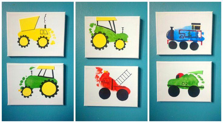 More footprint art on canvas. A dump truck, tractors, a fire engine, Thomas…