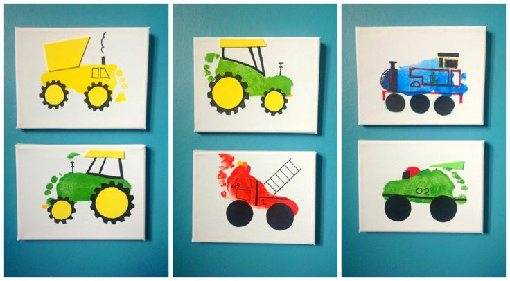 More footprint art on canvas a dump truck tractors a for Tractor art projects