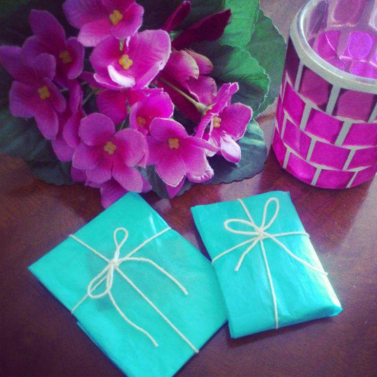 blue paper present handmade cute beautiful fashion diy