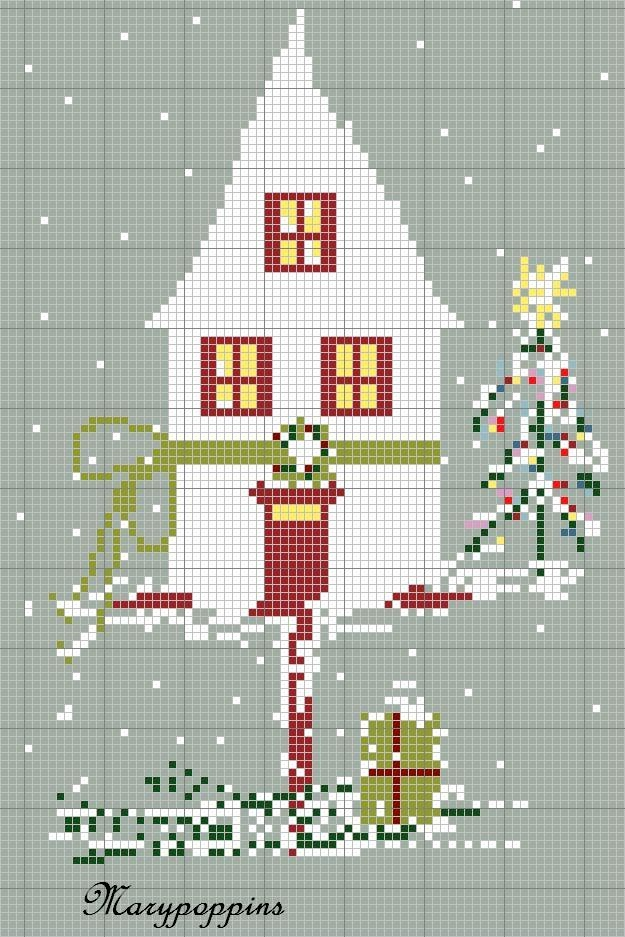 Adorable Winter House Cross   Stitch Pattern...just save and print