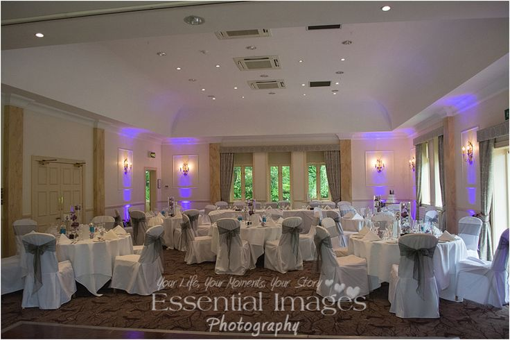 Pretty purple lighting to complement the bride and groom's colour scheme.