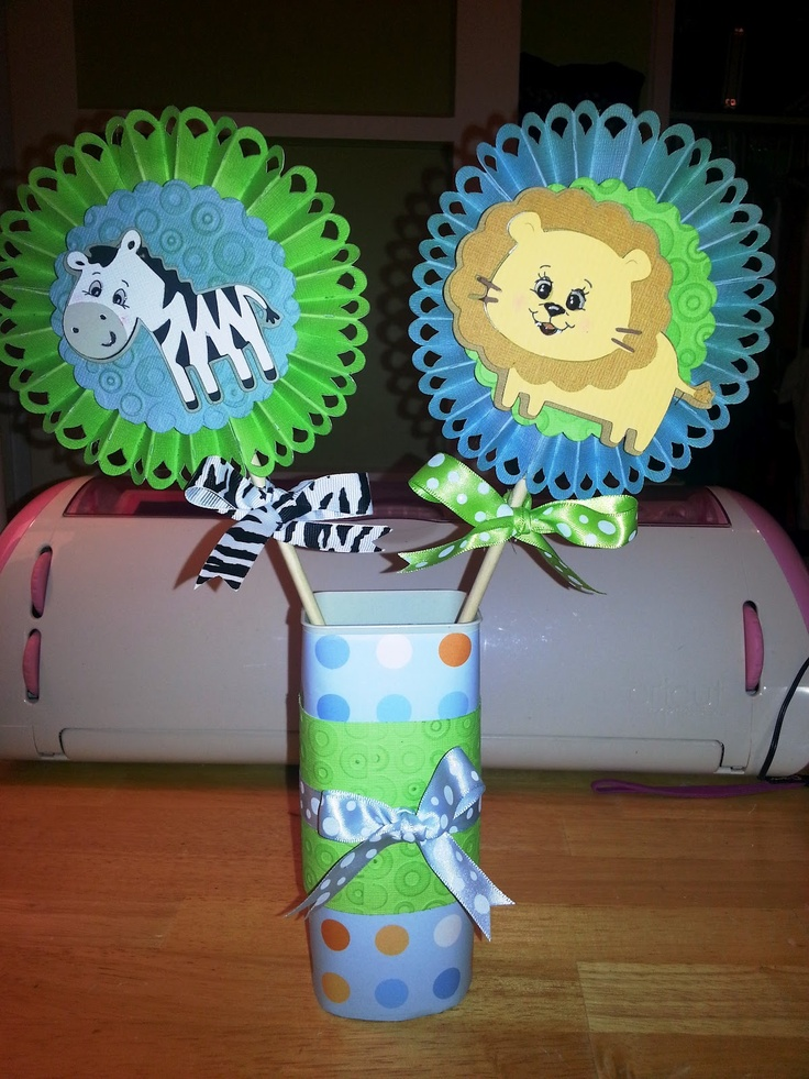 Baby Shower Decorations Using Cricut ~ Baby shower centerpiece made using ribbons rosette and