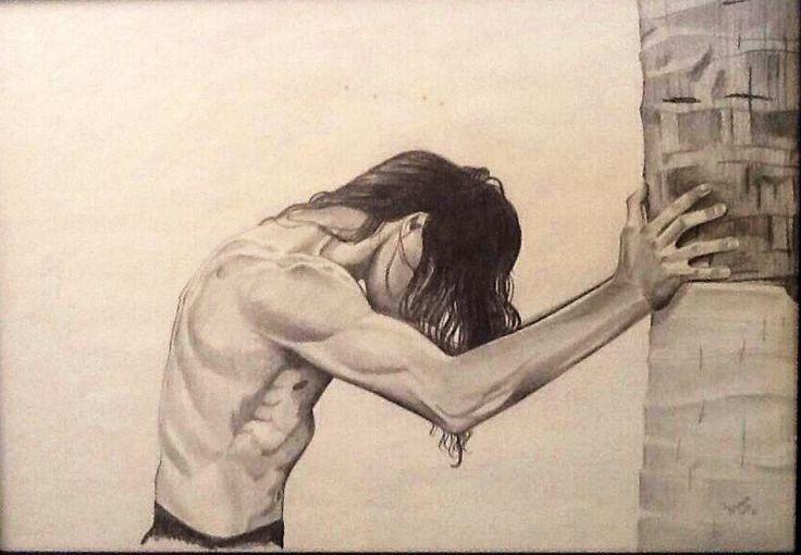 Relax junto a la palmera. Dibujo en grafito 40 x 50 cms aprox. Susana Soto Poblette.