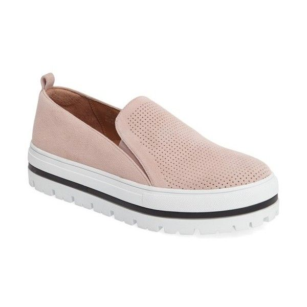 Women's Halogen Teagen Sneaker (€84) ❤ liked on Polyvore featuring shoes, sneakers, lt pink suede perf, pink sneakers, slip on shoes, suede slip on shoes, striped shoes and slip on trainers
