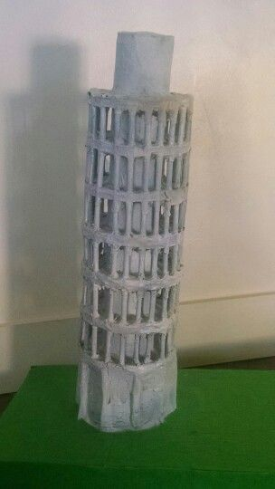 Leaning Tower Of Pisa Built With Styrofoam And Paper