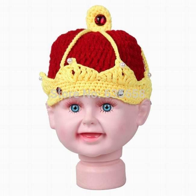 Король Корона ручной крючком вязаные детские Кристалл жемчуг шапочки шляпы шапки новорожденный мальчик девочка фотографии костюм фото реквизит наряды
