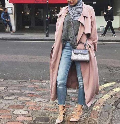 pink-trench-coat-hijab-look- Ootd hijab styles http://www.justtrendygirls.com/ootd-hijab-styles/