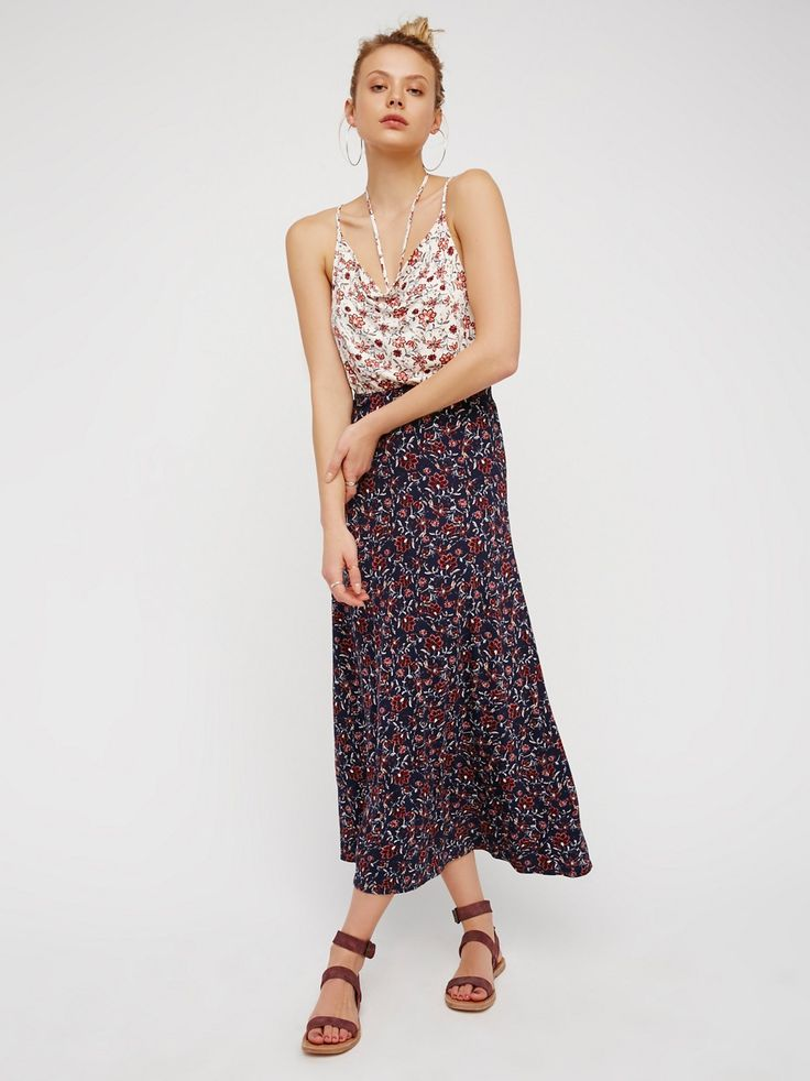 True Love Cowl Maxi Dress | Super soft and stretchy printed maxi dress featuring a cowl neck and an elastic waistband for an easy fit. Open back with adjustable straps. American made.