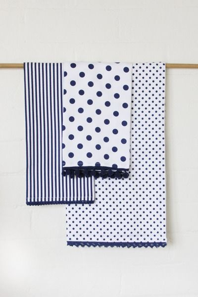 Dandi Tea Towel Set- Spots & Stripes | Krinkle - Homewares & Gifts