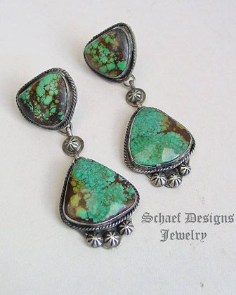 Schaef Designs high grade Hubei Turquoise & Sterling Silver Southwestern POST Earrings | New Mexico