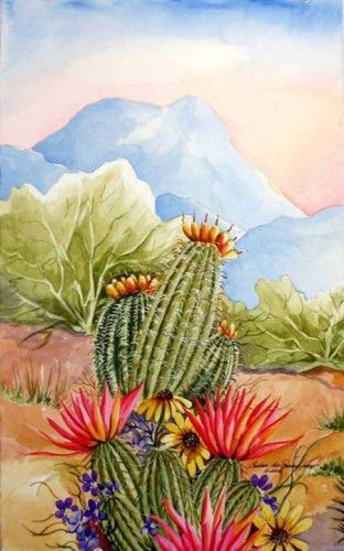 Arizona Desert Art | ... Art Print - Barrel Cactus and Hedgehog Blossoms in the Sonoran Desert